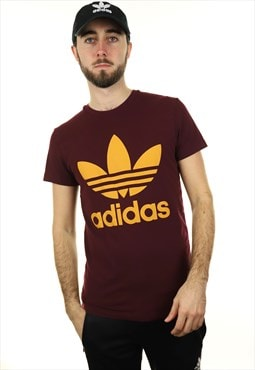 Vintage ADIDAS ORIGINALS T Shirt Burgundy