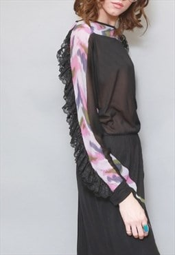 Vintage 1970's Premium Black & Pink Ruffle Dress