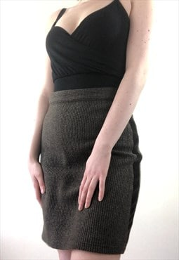 Womens Vintage Fendi skirt brown high waist pencil skirt