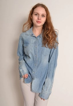 Vintage 90s Denim Popper Long Shirt in Light Blue