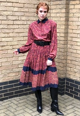 80s Vintage Burgundy & Navy Paisley Pleated Shirt Dress