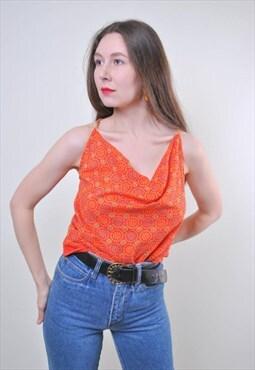 Flowers print women vintage holiday orange top