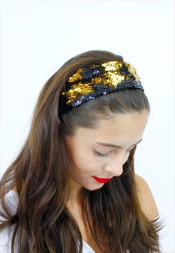 Black & Gold Sequin Festival  Stretch Wide Bandana Head Band