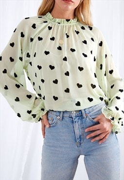 Parker Sheer Blouse - Green Heart