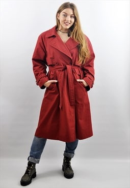 Vintage 90s Long Raspberry Red Mac Coat Duster