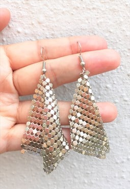 Handmade Silver Plated Chain Mail Dangle Earrings