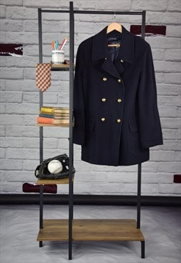 80s Vintage Preppy Burberrys Navy Blue Double Breasted Coat