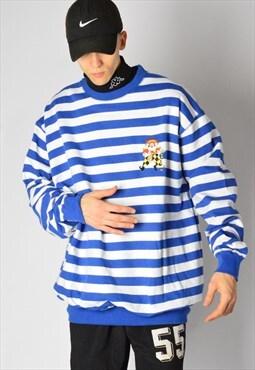 Vintage 90s Blue White Striped Embroidered Joker Sweatshirt