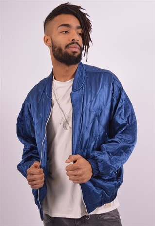 MENS VINTAGE BOMBER JACKET XL BLUE 90S