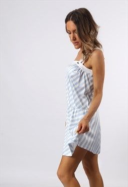 Dress Short Striped Tennis Sportswear Vintage UK 10  12 CG3K