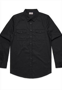 Men's Black Shirt in Military Style