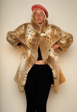 Wild Cat Beige White Fake Fur L