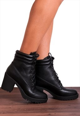 Black Cleated Platforms Combat Military Ankle Boots