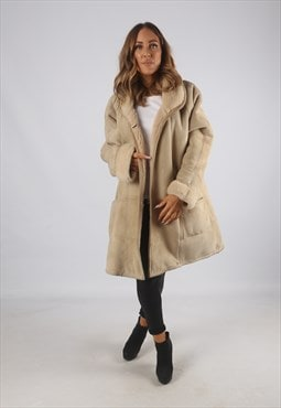 Vintage Sheepskin Suede Shearling Coat Short 16 - 18  (9AC)