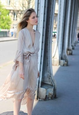 Long asymmetrical beige dress