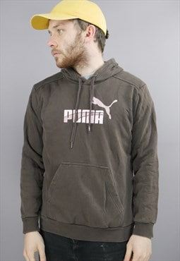Vintage Puma Hoodie in Brown with Logo