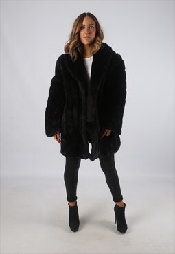Vintage Faux Fur Coat Jacket Short Mid UK 18 - 20 (H4D)