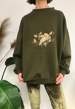 Cool Pretty Vintage Green Jumper With Embroidery