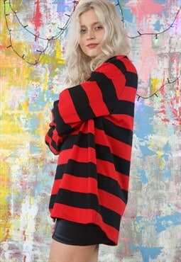 Jumper in red & black stripes