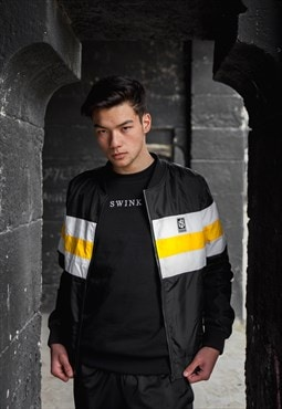 Swink Stripes Jacket in Black and Yellow