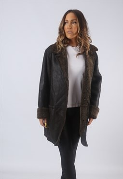 Vintage Leather Sheepskin Shearling Coat UK 14  (HB3D)