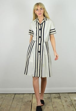 Vintage 70s does 40s Black & White Stripe Midi Dress