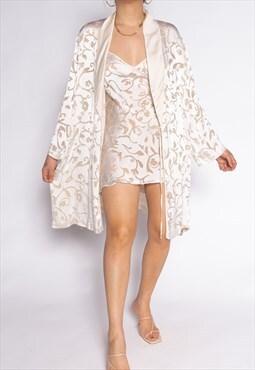 Vintage Silk White Floral Robe Set