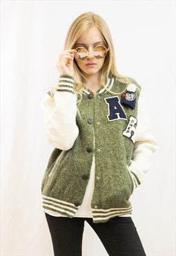 Soft wool blend bomber jacket cardigan with letter patch