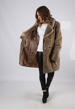 Sheepskin Suede Leather Shearling Coat UK 14 - 16  (HJ2D)