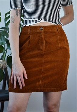 Vintage corduroy tan mini skirt
