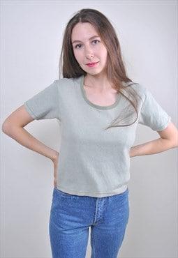 80s green minimalist women tshirt