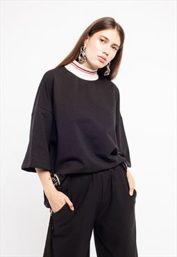 Oversized short-sleeved blouse in black