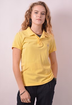 Ralph Lauren Womens Vintage Polo Shirt Medium Yellow 90s