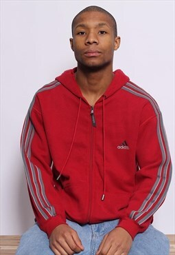 Vintage Adidas Logo 3 Stripe Full Zip Hoodie Red