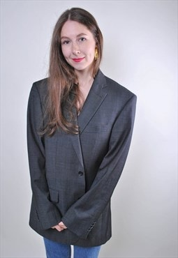 Retro woman grey oversize minimalist suit blazer