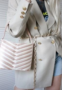 Vintage Y2K Nude Silky Satin Handbag
