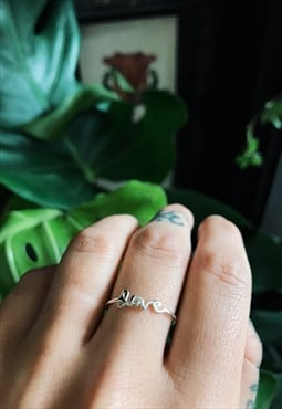 Dainty Sterling Silver Love Ring