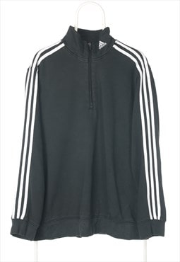 Vintage Black Adidas Quarter Zip Sweatshirt - Medium
