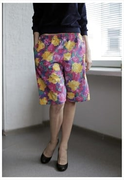 Vintage 80's Multicolor Flower Print Shorts
