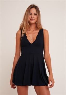 Subdued blue v-neck playsuit