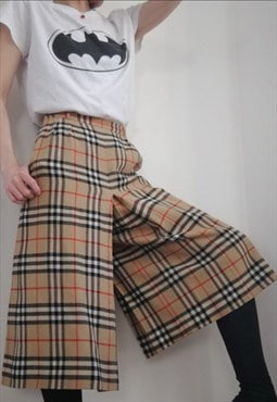 Womens Vintage Burberry nova check wool trousers culottes