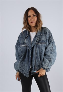 Vintage Denim Jacket Oversized ACID WASH UK 16 XL (J2D)