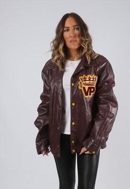 RARE Leather Jacket Bomber Oversized VARSITY UK 14 16 (GK7I)