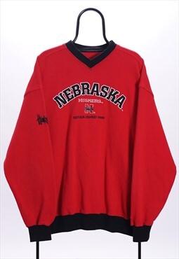 Vintage NCAA Red Nebraska Huskers Sweatshirt