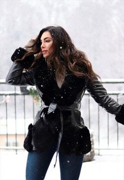 Shade jacket black smooth faux leather black fur