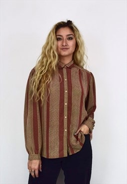Vintage 90's Burnt Orange & Brown Patterned Button Up Shirt