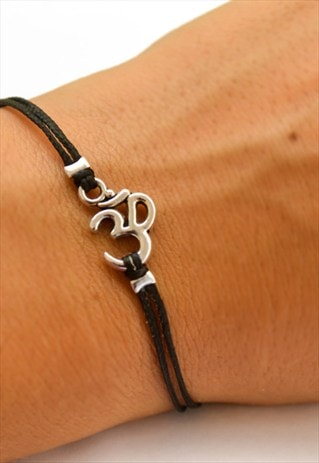 SILVER OM BRACELET WITH A BLACK CORD, GIFT FOR HER, YOGA