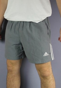 Vintage Adidas Shorts in Grey with Pockets, Embroidered Logo