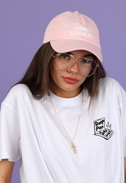 Cap in Pastel Pink with Embroidered GAME LOVER