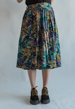 Vintage 70s pleated midi patterned skirt